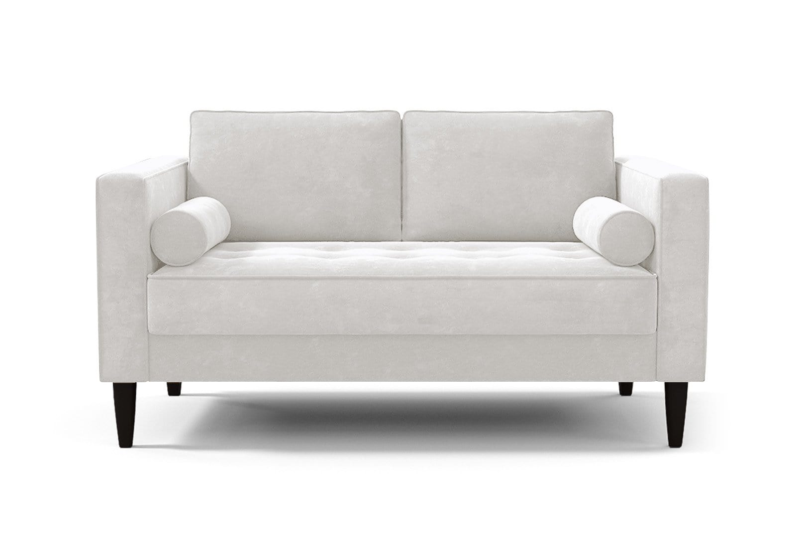Delilah Loveseat - White Velvet - Small Space Modern Couch Made in the USA - Sold by Apt2B