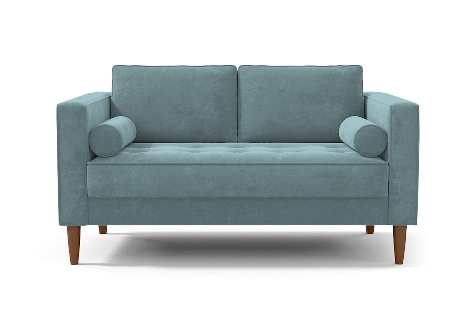 Delilah Loveseat - Blue Velvet - Small Space Modern Couch Made in the USA - Sold by Apt2B