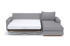 Harper 2pc Sleeper Sectional :: Leg Finish: Pecan / Sleeper Option: Deluxe Innerspring Mattress / Configuration: LAF - Chaise on the Left