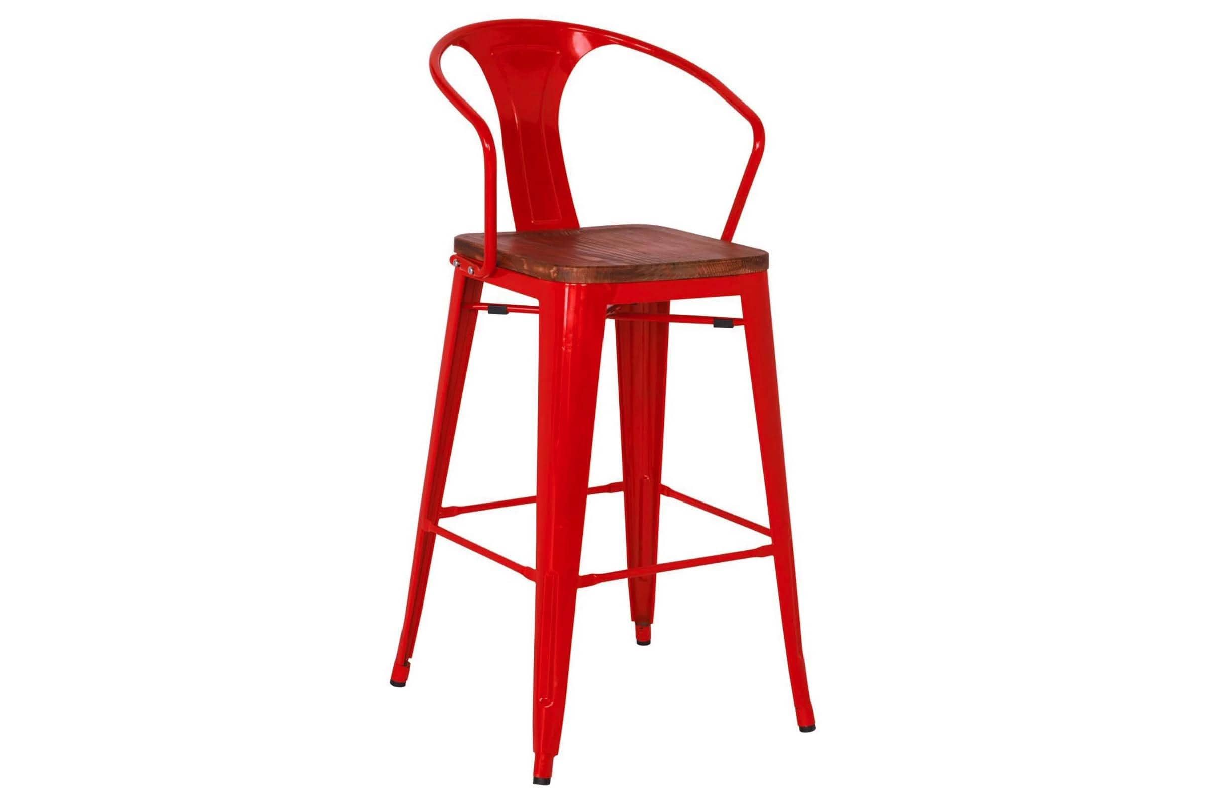 Grand Metal Bar Chair RED - SET OF 4 - - Accent Chair - Furniture sold by Apt2B