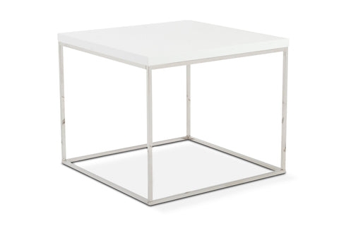 Kings Road End Table WHITE/CHROME