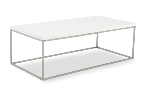 Kings Road Rect. Coffee Table WHITE/CHROME