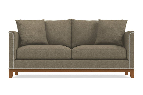 La Brea Sofa  -  Leg Finish: Pecan  -  Taupe Poly Blend  - Sold By Apt2B - Modern Couch Made In The USA