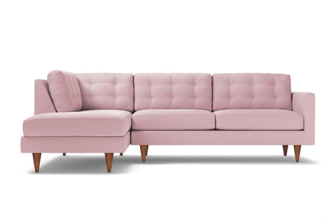 Logan 2pc Velvet Sectional Sofa :: Leg Finish: Pecan / Configuration: LAF - Chaise on the Left