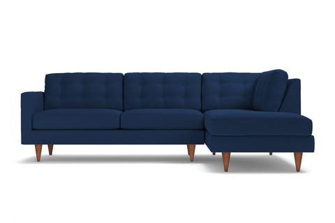 Logan 2pc Velvet Sectional Sofa :: Leg Finish: Pecan / Configuration: RAF - Chaise on the Right