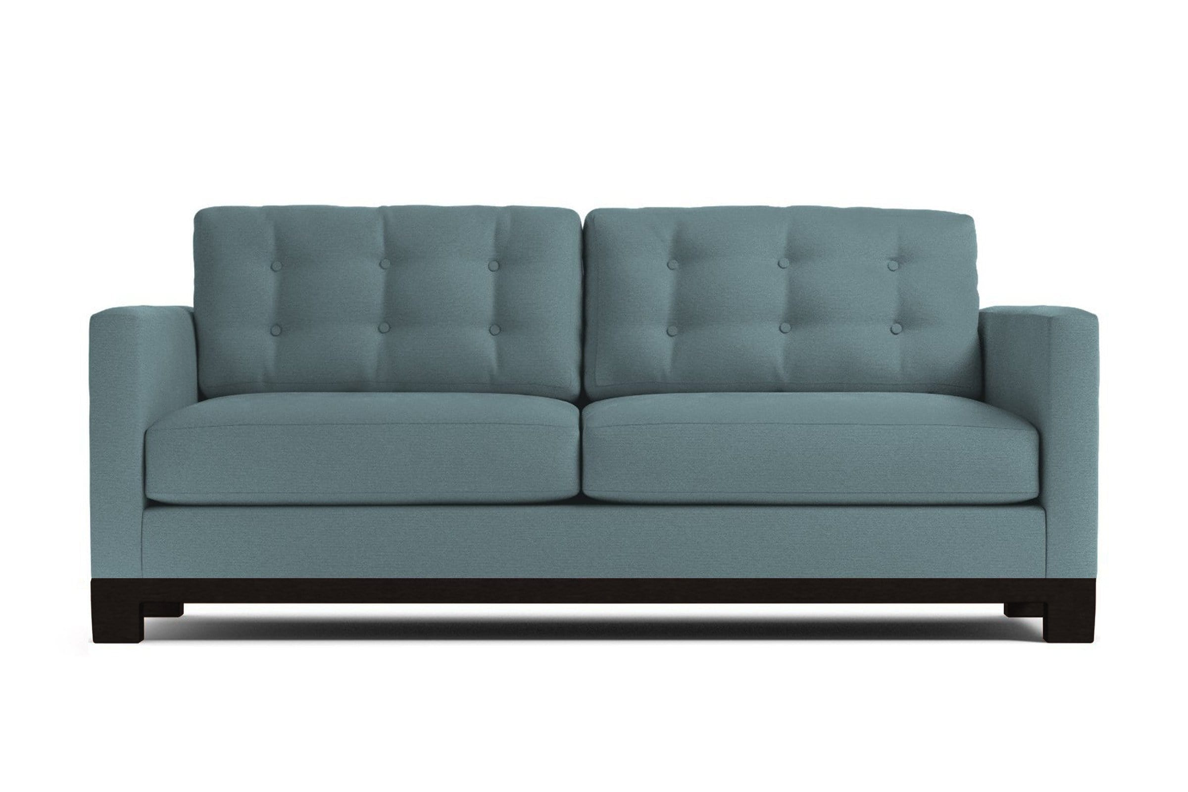 Logan Drive Apartment Size Sleeper Sofa - Blue Velvet - Pull Out Couch Bed Made in the USA - Sold by Apt2B