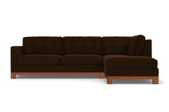 Logan Drive 2pc Sleeper Sectional Sofa :: Leg Finish: Pecan / Configuration: RAF - Chaise on the Right / Sleeper Option: Deluxe Innerspring Mattress