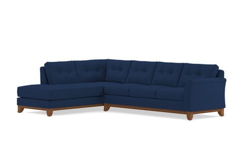 Marco 2pc Sleeper Sectional :: Leg Finish: Pecan / Configuration: LAF - Chaise on the Left / Sleeper Option: Deluxe Innerspring Mattress