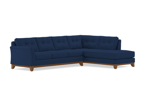 Marco 2pc Sleeper Sectional :: Leg Finish: Pecan / Configuration: RAF - Chaise on the Right / Sleeper Option: Memory Foam Mattress