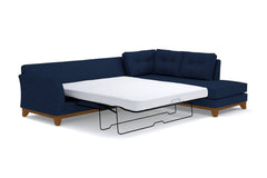 Marco 2pc Sleeper Sectional :: Leg Finish: Pecan / Configuration: RAF - Chaise on the Right / Sleeper Option: Deluxe Innerspring Mattress