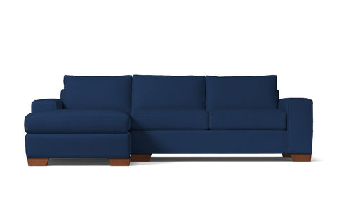 Melrose 2pc Sleeper Sectional :: Leg Finish: Pecan / Configuration: LAF - Chaise on the Left / Sleeper Option: Deluxe Innerspring Mattress