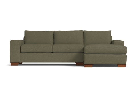 Melrose 2pc Sleeper Sectional :: Leg Finish: Pecan / Configuration: RAF - Chaise on the Right / Sleeper Option: Deluxe Innerspring Mattress