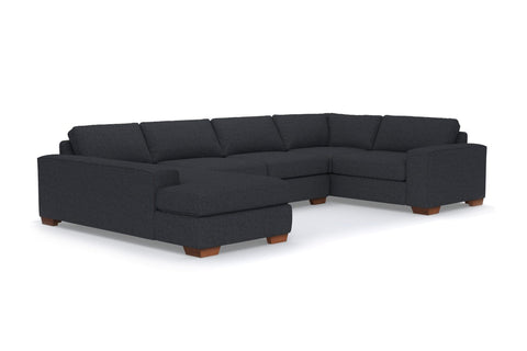 Melrose 3pc Sleeper Sectional :: Leg Finish: Pecan / Configuration: LAF - Chaise on the Left / Sleeper Option: Memory Foam Mattress