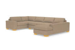Melrose 3pc Sleeper Sectional :: Leg Finish: Natural / Configuration: RAF - Chaise on the Right / Sleeper Option: Deluxe Innerspring Mattress