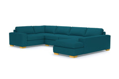 Melrose 3pc Sleeper Sectional :: Leg Finish: Natural / Configuration: RAF - Chaise on the Right / Sleeper Option: Memory Foam Mattress