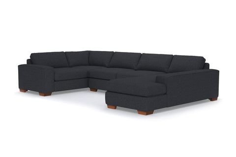 Melrose 3pc Sleeper Sectional :: Leg Finish: Pecan / Configuration: RAF - Chaise on the Right / Sleeper Option: Memory Foam Mattress
