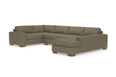 Melrose 3pc Sleeper Sectional :: Leg Finish: Pecan / Configuration: RAF - Chaise on the Right / Sleeper Option: Deluxe Innerspring Mattress