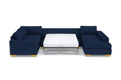 Melrose 3pc Sleeper Sectional :: Leg Finish: Natural / Configuration: LAF - Chaise on the Light / Sleeper Option: Deluxe Innerspring Mattress