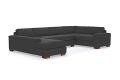 Melrose 3pc Sleeper Sectional :: Leg Finish: Pecan / Configuration: LAF - Chaise on the Left / Sleeper Option: Deluxe Innerspring Mattress