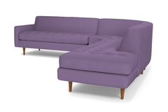 Monroe 3pc Velvet Sectional Sofa :: Leg Finish: Pecan / Configuration: RAF - Chaise on the Right