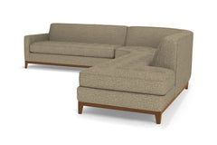 Monroe Drive 3pc Sleeper Sectional :: Leg Finish: Pecan / Configuration: RAF - Chaise on the Right / Sleeper Option: Deluxe Innerspring Mattress