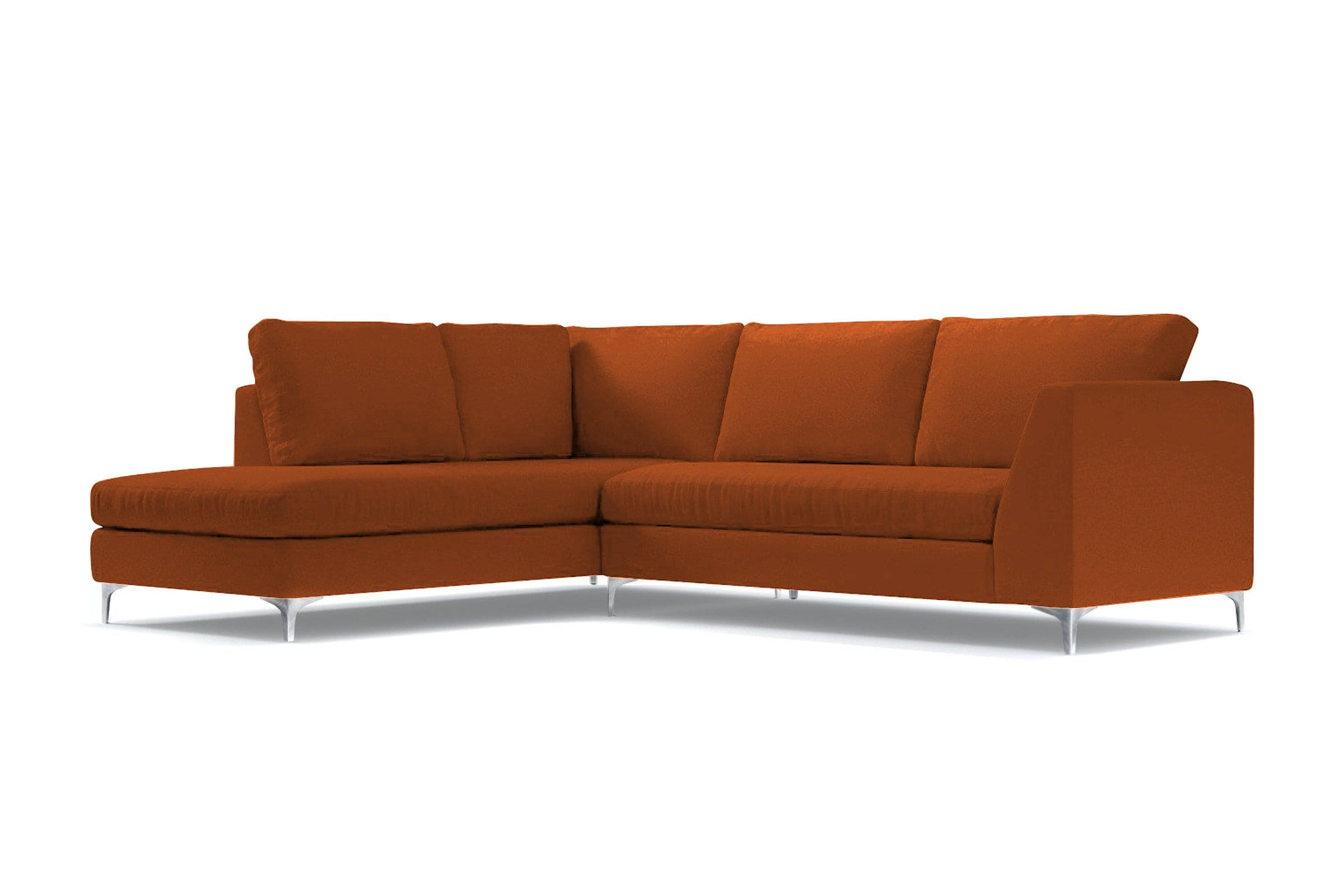 Mulholland 2pc Sectional Sofa - Orange Velvet - Modern Sectional Sofa Made in USA - Sold by Apt2B