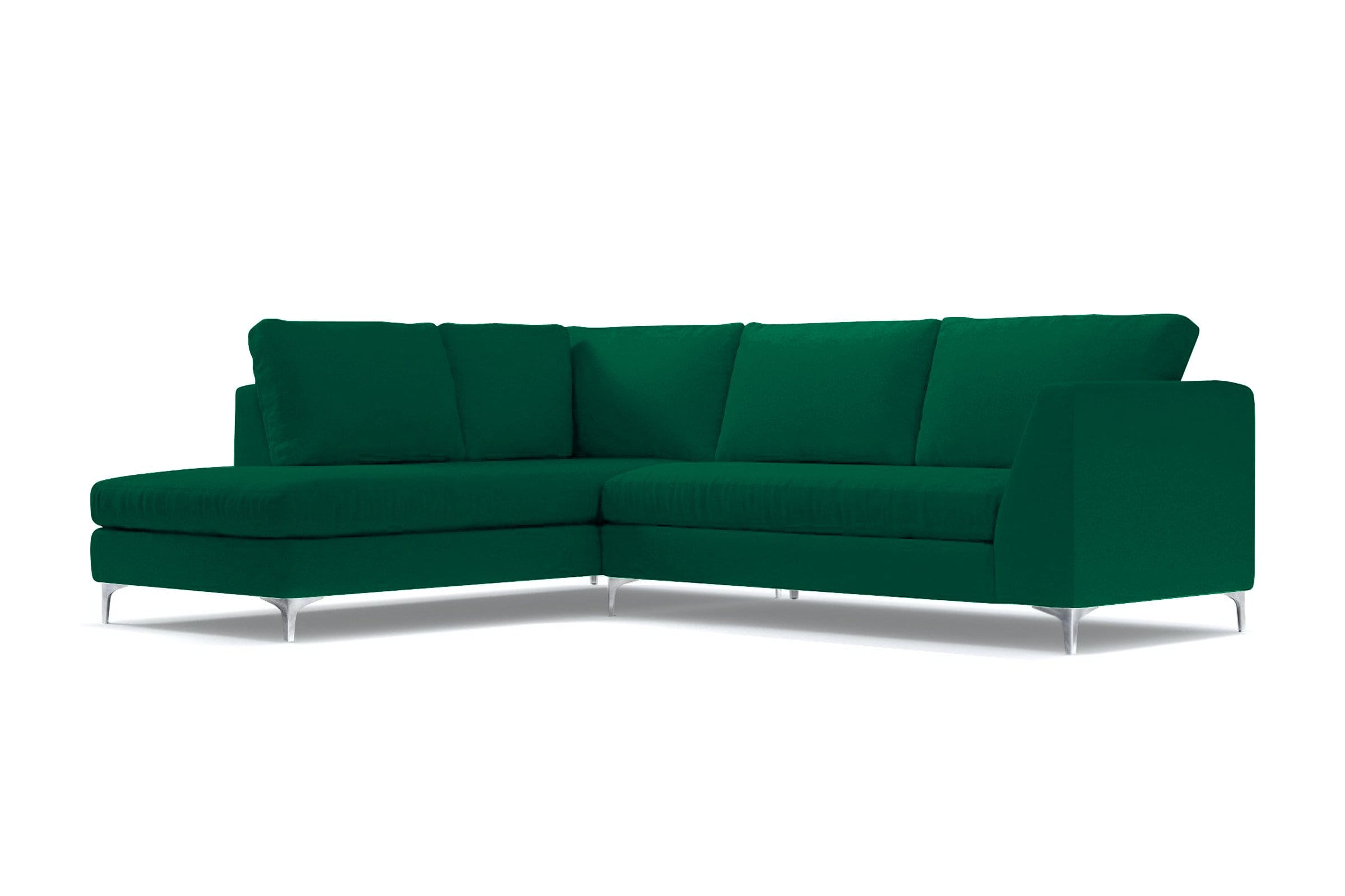 Mulholland 2pc Sectional Sofa - Green Velvet - Modern Sectional Sofa Made in USA - Sold by Apt2B