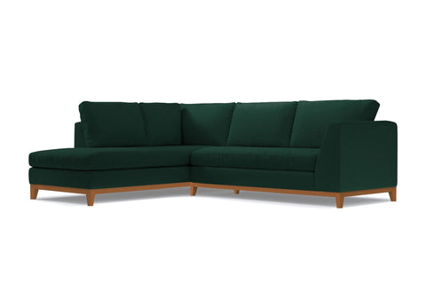 Mulholland Drive 2pc Sleeper Sectional :: Leg Finish: Pecan / Configuration: LAF - Chaise on the Left / Sleeper Option: Deluxe Innerspring Mattress