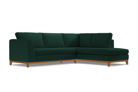 Mulholland Drive 2pc Sleeper Sectional :: Leg Finish: Pecan / Configuration: RAF - Chaise on the Right / Sleeper Option: Memory Foam Mattress