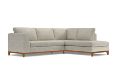 Mulholland Drive 2pc Sleeper Sectional :: Leg Finish: Pecan / Configuration: RAF - Chaise on the Right / Sleeper Option: Deluxe Innerspring Mattress