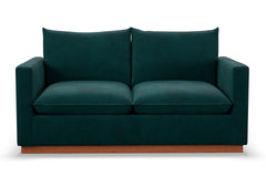 Olivia Twin Size Sleeper Sofa :: Leg Finish: Pecan / Sleeper Option: Deluxe Innerspring Mattress
