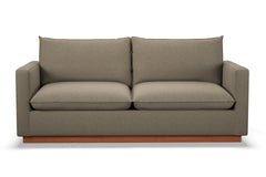 Olivia Queen Size Sleeper Sofa :: Leg Finish: Pecan / Sleeper Option: Memory Foam Mattress