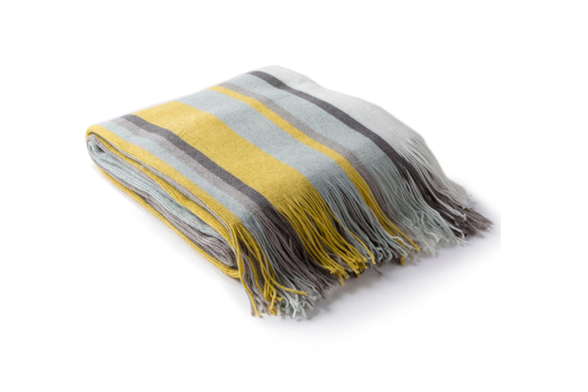 Redondo Striped Throw BLUE   Modern Bed and Sofa Throw Blankets