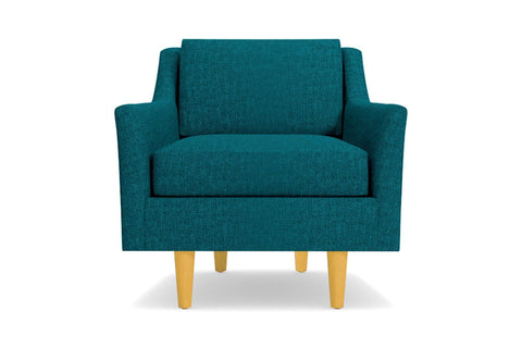 Sutton Chair  -  Leg Finish: Natural  -  Blue Poly Blend  - Accent Chair - Furniture Sold By Apt2B