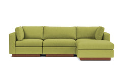 Taylor Plush 4pc Modular Chaise Sectional Sofa :: Leg Finish: Pecan