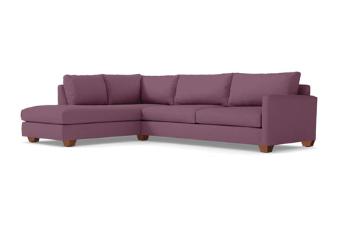Tuxedo 2pc Sleeper Sectional :: Leg Finish: Pecan / Configuration: LAF - Chaise on the Left / Sleeper Option: Memory Foam Mattress