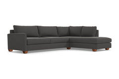 Tuxedo 2pc Sleeper Sectional :: Leg Finish: Pecan / Configuration: RAF - Chaise on the Right / Sleeper Option: Memory Foam Mattress