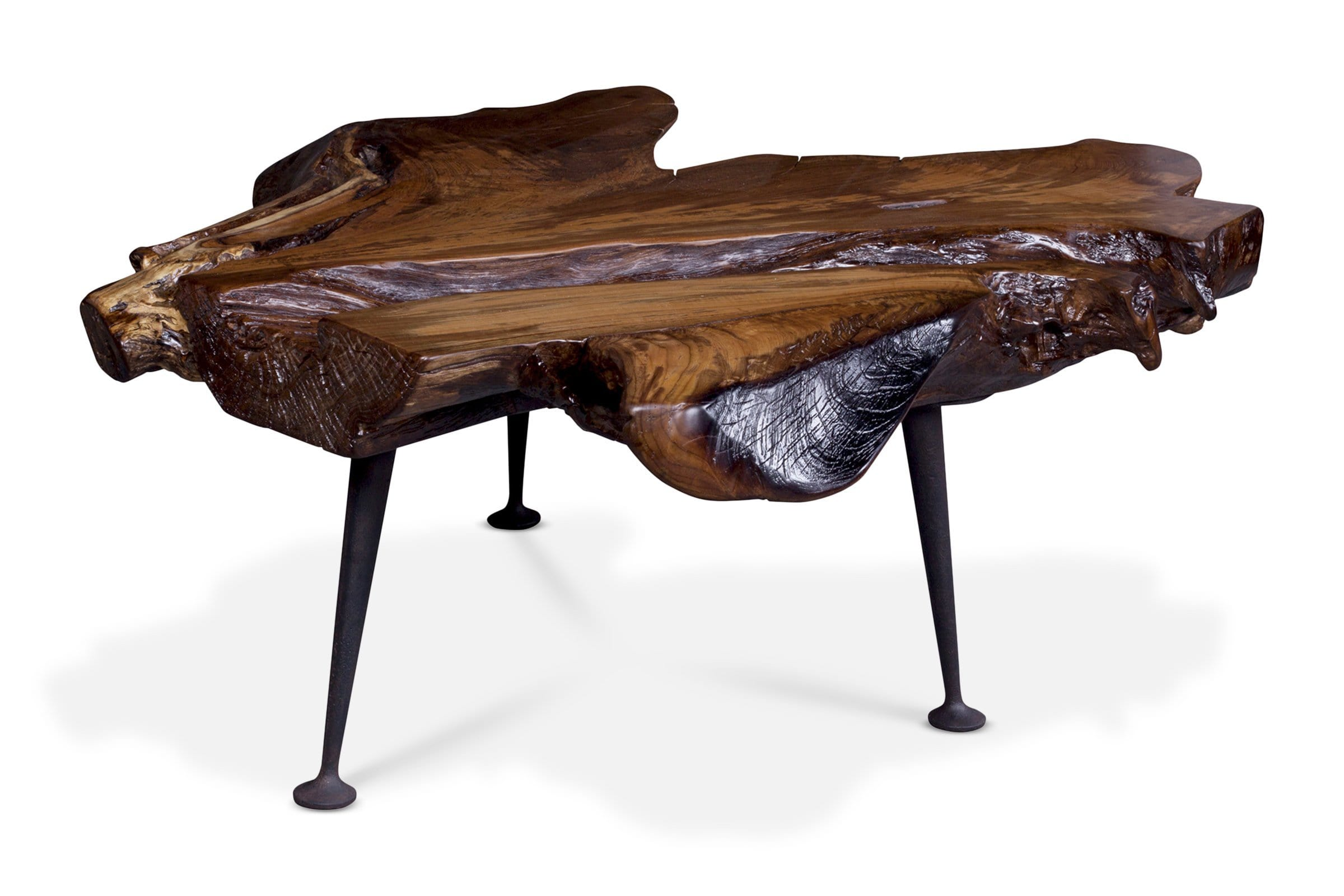 Vitus Coffee Table - Natural Teak Wood Top w/ Iron Base - Living Room Furniture sold by Apt2B