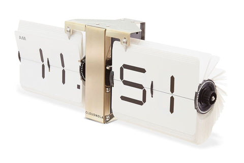 Flipping Out Clock by Cloudnola WHITE/GOLD
