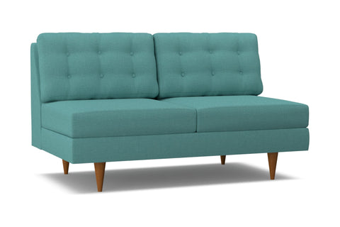 Logan Armless Apartment Size Sofa :: Leg Finish: Pecan