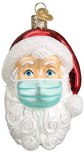 Old World Christmas Santa with Face Mask Blown Glass 2020 Christmas Ornament