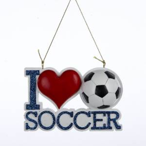Kurt Adler I Love Soccer Ornament for Personalization