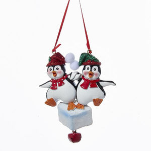 Kurt Adler Penguin Family Of 2 Ornament For Personalization, A1223