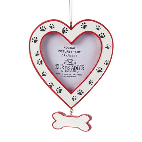 Kurt Adler Heart Picture Frame With Dog Paws Ornament For Personalization, A1507