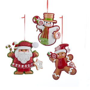 Glitter Gingerbread Cookie Santa, Snowman and Boy Ornament for personalization, A1518