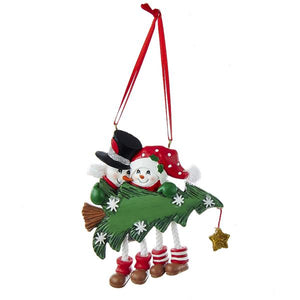 Kurt Adler Snowman Family of 2 With Christmas Tree Ornament For Personalization, A1616