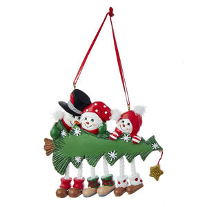 Kurt Adler Snowman Family of 3 With Christmas Tree Ornament For Personalization, A1617