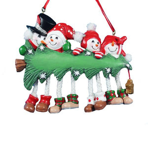 Kurt Adler Snow Tree Family of 4 With Christmas Tree Ornament For Personalization, A1618