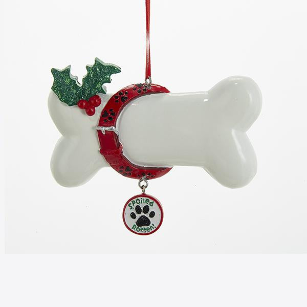 Kurt Adler Spoiled Rotten Dog Bone Ornament For Personalization, A1676