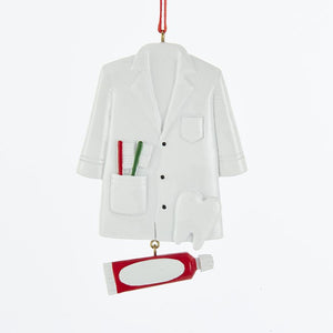 Kurt Adler Dentist Coat With Toothpaste Dangle Ornament For Personalization, A1756